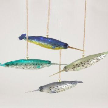 Narwhal Glass Ornament