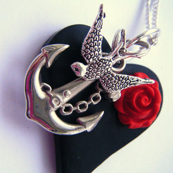 Sweet Heart Tattoo Rockabilly Necklace Swallow Anchor Black Heart Poppy Red Rose