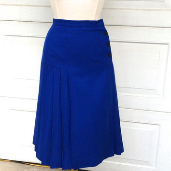 Vintage Dior Royal Blue Pleated Wool Skirt | 80s to 90s Christian Dior | XS Women