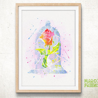 The Enchanted Rose, Beauty and the Beast - Watercolor, Art Print, Home Decor, Watercolor Print, Disney Poster