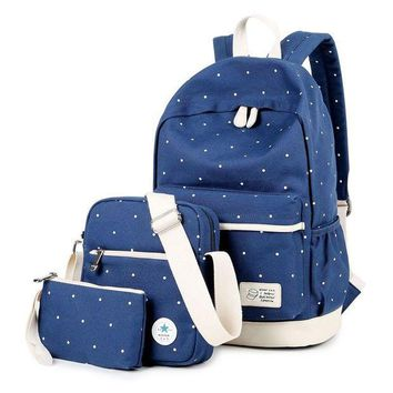 ONETOW Day-First? Canvas Travel Bag 3 Pieces Laptop Bookbag College Backpack Daypack