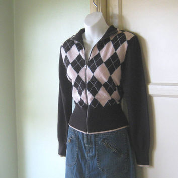 Vintage Wool Blend Brown/Pink Argyle Cardigan - Benetton Retro Varsity Jacket-Style Zip-Up Cardi; Small-Med Preppy Cardigan Preppie