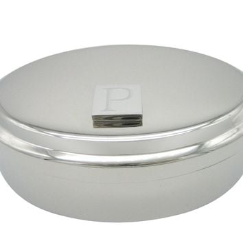 Letter P Etched Monogram Pendant Oval Trinket Jewelry Box