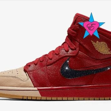 Crystal Rhinestone Women Air Jordan 1 Retro High Premium Red