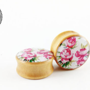 Wood, Flower, Ear Plugs, Double Flared, Tunnels, Vintage Style Rose Floral Design Ear Gauges, 0g, 00g, 25mm, BIG SIZES, Sold as a PAIRS, P+S