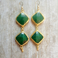 valentine day hart love long earrings emerald forest  jade green stones  gold  large bold simple gemstone earrings israel