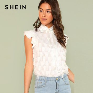 SHEIN Frill Neck And Shoulder Ribbon Detail Top 2018 Summer Stand Collar Cap Sleeve Top Women Modern White Casual Blouse
