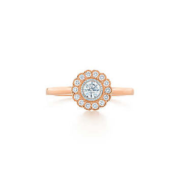 Tiffany & Co. -  Tiffany Enchant™ flower ring in platinum and 18k rose gold with diamonds.