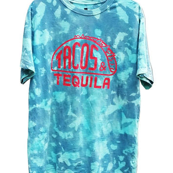 SALE Taco TShirt Tee Top Gym Casual Clothing Gift For Her Gift For Him Mens Skateboard Snowboard Tequila Taco Tuesday Funny Shirt Turquoise