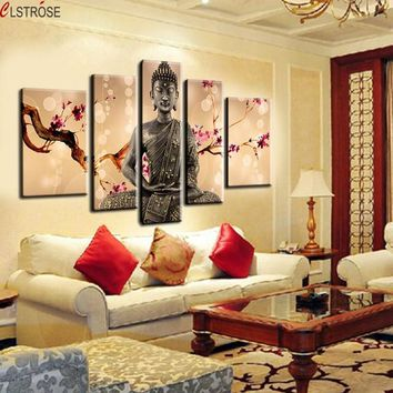 CLSTROSE 5 Pieces/set 100% Handmade Modern For Buddha Oil Painting Canvas Wall Art Religion Prints Tableau Decoration Murale
