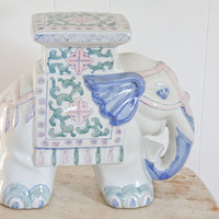 Elephant Plant Stand, vintage elephant, teen girls room, nursery decor, little girls, pink, blue, green, Chinese Elephant, Asian, pastel