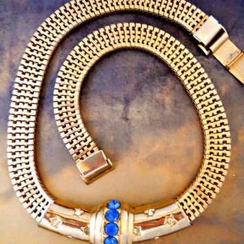 Brookcraft Mesh Necklace Slide Choker Blue Rhinestones Vintage