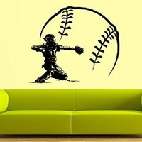 Wall Decal Vinyl Sticker Decals Art Decor Design Bedroom Baseball Player Sport Extrime Play room Kids Bedroom Dorm Home (r1420)