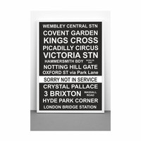 London Bus Blind Destination Roll typography extra large poster (from US Letter up to A0 size) black and white