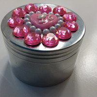 Pink Heart Jeweled Herb Grinder by SmokingGirlCouture on Etsy