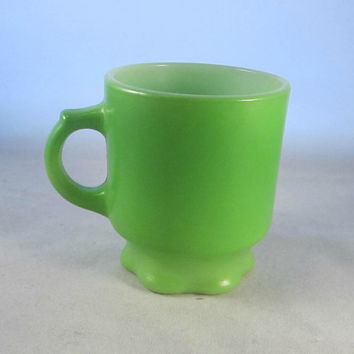 Vintage 70s Fire King Concord Mug Green Notched C Handle