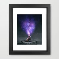 All Things Share the Same Breath (Coyote Galaxy) Framed Art Print by Soaring Anchor Designs