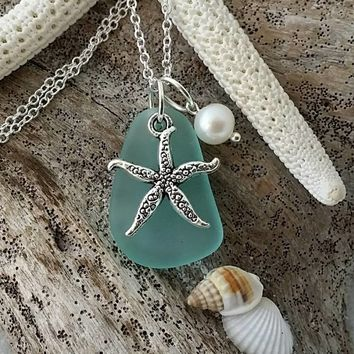 "Handmade in Hawaii, ""March Birthstone"" Aqua sea glass beach glass necklace, Starfish charm, Freshwater pearl, Sterling silver chain"