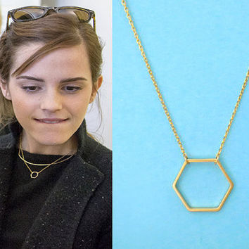 Plain Hexagon Simple Necklace