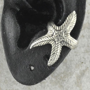 Starfish Ear Cuff - Sterling Silver - SINGLE SIDE