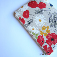Linen poppies sleeve 11 with zipper, MacBook Air 11 sleeve, MacBook Air 11 case, MacBook Air 11 Cover, Laptop Sleeve Case, MacBook case