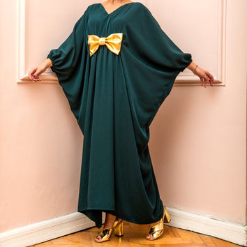 New HOLIDAY Maxi dress, Plus size dress, Plus size clothing, Abaya, Drapped maxi dress, Green Maxi dress, Kaftan, Caftan dress, Party dress