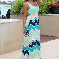 Multi Color Chevron Maxi Dress With Mint Top