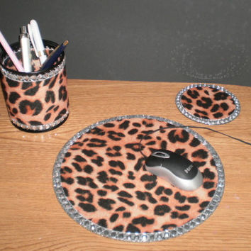 Animal Print & Bling Computer Desk Set - Cheetah print w/ clear rhinestones