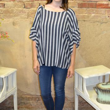 Know Who I Am Striped Ruffle Top