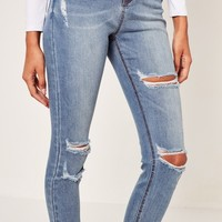 Missguided - Blue Sinner High Waisted Authentic Ripped Skinny Jeans