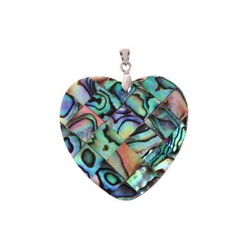 Heart Shape Colorful Natural Abalone Shell Jewelry Necklace Insertion Pendant