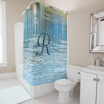 Abstract Reflection Shower Curtain with Monogram