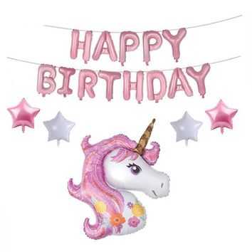 18pcs Cartoon Unicorn Party Decor Balloon
