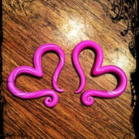Valentine Hearts polymer clay gauged earrings, 8g, 6g, 4g, 2g, 0g, 00g, 7/16in