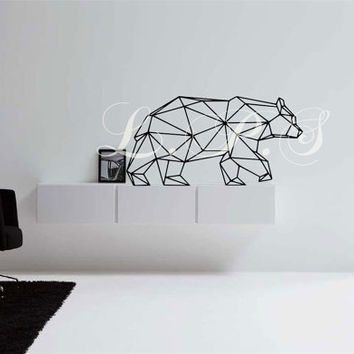 Geometic Artist Bear Wall Decal, Art Decor Wall Applications Avaliable in a wide array of colors FAST PRODUCTION Ships within 24 Hours of