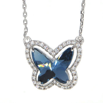 Dear Deer White Gold Plated Ruby Butterfly Swarovski Elements Pendant Necklace