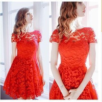 Women's Fashionable Lace Slim Fit Round Neck Short Sleeve Casual Summer Dress b2970