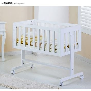 Baby crib wood multifunctional bed. White paint free variable desk