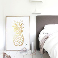 Gold Pineapple Print, Gold Pineapple Wall Art, Minimalist Art Print, Real Gold Foil, Modern Home Decor, Gold Fruit, 8x10 Print.