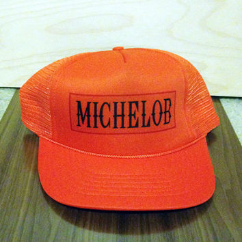 Snapback Hat, Vintage Hat, Baseball Hat, Mesh Hat, Trucker Hat, Dark Orange, Beer, Michelob