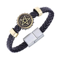 Black Butler Alloy Bracelets Weave Leather Band