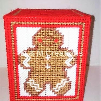 Gingerbread Man Tissue Box Cover, Plastic Canvas Tissue Box, Bathroom Room Decor, Free Tissues, Gingerbread Box, Teacher Gift, Get Well Gift