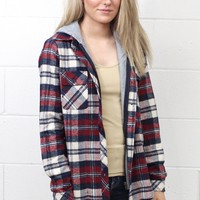 Lumberjack Plaid Flannel Hoodie Jacket {Burgundy Mix}