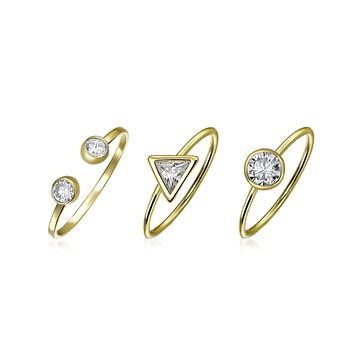 Pyramid Circle CZ 14K Gold Plate Sterling Silver Midi Knuckle Ring Set
