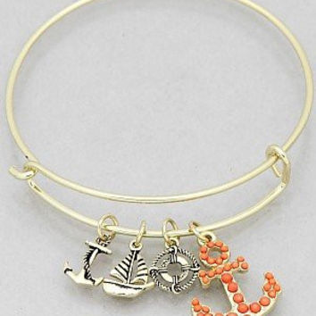 Womens Jewelry, Crystal Anchor Hook Sailboat Buoy Bangle Bracelets Color : Gold tone imitation coral Size : Diameter:2.25inch.