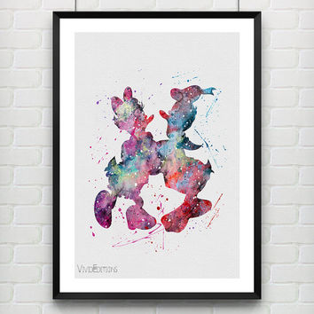Donald Duck and Daisy Duck Disney, Watercolor Art Poster Print, Baby Nursery Decor, Kids Room Decor, Not Framed, Buy 2 Get 1 Free! [No. 123]