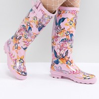 ASOS DESIGN Grassy Floral Wellies at asos.com