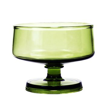 Set/6 Green Sherbet Coupes, Mid Century Modern Dessert Glasses