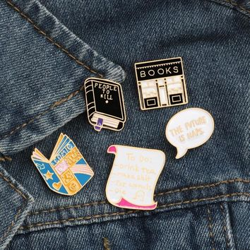 Trendy Fashion Cartoon Style Pattern Book Brooch Men's Denim Jackets Enamel Pin Decoration Brooches For Women Activity Charm Badge Pins AT_94_13