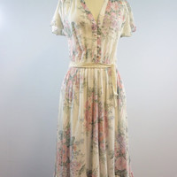 Vintage Floral Blooms Cotton Dress